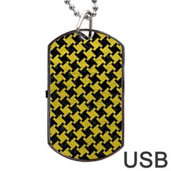 Houndstooth2 Black Marble & Yellow Leather Dog Tag Usb Flash (one Side) by trendistuff