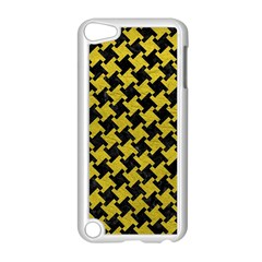 Houndstooth2 Black Marble & Yellow Leather Apple Ipod Touch 5 Case (white) by trendistuff