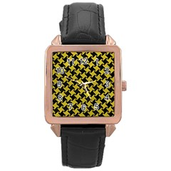 Houndstooth2 Black Marble & Yellow Leather Rose Gold Leather Watch  by trendistuff