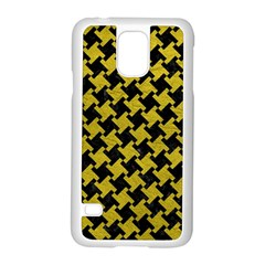 Houndstooth2 Black Marble & Yellow Leather Samsung Galaxy S5 Case (white) by trendistuff