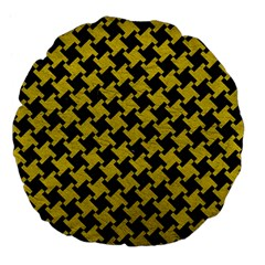 Houndstooth2 Black Marble & Yellow Leather Large 18  Premium Flano Round Cushions by trendistuff