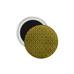 Hexagon1 Black Marble & Yellow Leather 1 75  Magnets by trendistuff