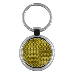 Hexagon1 Black Marble & Yellow Leather Key Chains (round)  by trendistuff