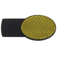 Hexagon1 Black Marble & Yellow Leather Usb Flash Drive Oval (2 Gb) by trendistuff