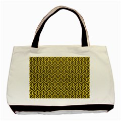 Hexagon1 Black Marble & Yellow Leather Basic Tote Bag (two Sides) by trendistuff