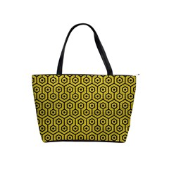 Hexagon1 Black Marble & Yellow Leather Shoulder Handbags