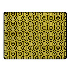 Hexagon1 Black Marble & Yellow Leather Fleece Blanket (small) by trendistuff