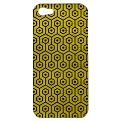 Hexagon1 Black Marble & Yellow Leather Apple Iphone 5 Hardshell Case by trendistuff