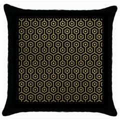Hexagon1 Black Marble & Yellow Leather (r) Throw Pillow Case (black) by trendistuff