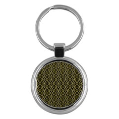 Hexagon1 Black Marble & Yellow Leather (r) Key Chains (round)  by trendistuff