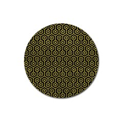 Hexagon1 Black Marble & Yellow Leather (r) Magnet 3  (round)