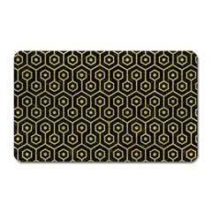 Hexagon1 Black Marble & Yellow Leather (r) Magnet (rectangular)