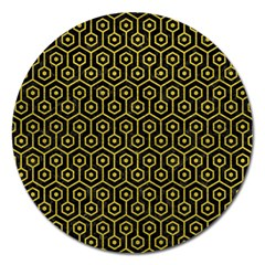 Hexagon1 Black Marble & Yellow Leather (r) Magnet 5  (round) by trendistuff