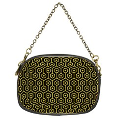 Hexagon1 Black Marble & Yellow Leather (r) Chain Purses (one Side)  by trendistuff
