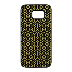 Hexagon1 Black Marble & Yellow Leather (r) Samsung Galaxy S7 Edge Black Seamless Case by trendistuff