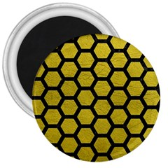 Hexagon2 Black Marble & Yellow Leather 3  Magnets by trendistuff