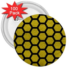 Hexagon2 Black Marble & Yellow Leather 3  Buttons (100 Pack)  by trendistuff