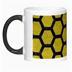 Hexagon2 Black Marble & Yellow Leather Morph Mugs by trendistuff