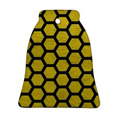 Hexagon2 Black Marble & Yellow Leather Ornament (bell)