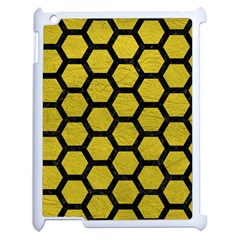 Hexagon2 Black Marble & Yellow Leather Apple Ipad 2 Case (white) by trendistuff