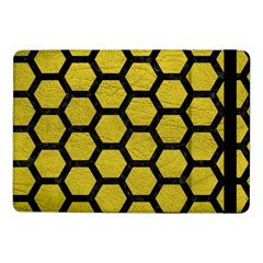 Hexagon2 Black Marble & Yellow Leather Samsung Galaxy Tab Pro 10 1  Flip Case by trendistuff