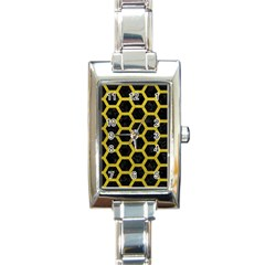HEXAGON2 BLACK MARBLE & YELLOW LEATHER (R) Rectangle Italian Charm Watch