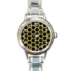 HEXAGON2 BLACK MARBLE & YELLOW LEATHER (R) Round Italian Charm Watch