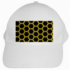 Hexagon2 Black Marble & Yellow Leather (r) White Cap by trendistuff