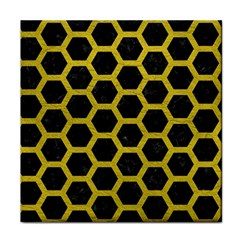 HEXAGON2 BLACK MARBLE & YELLOW LEATHER (R) Tile Coasters