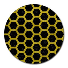 Hexagon2 Black Marble & Yellow Leather (r) Round Mousepads by trendistuff