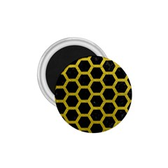 HEXAGON2 BLACK MARBLE & YELLOW LEATHER (R) 1.75  Magnets