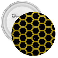 HEXAGON2 BLACK MARBLE & YELLOW LEATHER (R) 3  Buttons