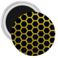 HEXAGON2 BLACK MARBLE & YELLOW LEATHER (R) 3  Magnets