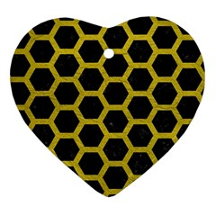 HEXAGON2 BLACK MARBLE & YELLOW LEATHER (R) Ornament (Heart)
