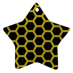 HEXAGON2 BLACK MARBLE & YELLOW LEATHER (R) Ornament (Star)
