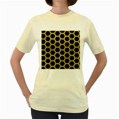 HEXAGON2 BLACK MARBLE & YELLOW LEATHER (R) Women s Yellow T-Shirt