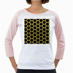 HEXAGON2 BLACK MARBLE & YELLOW LEATHER (R) Girly Raglans