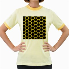 HEXAGON2 BLACK MARBLE & YELLOW LEATHER (R) Women s Fitted Ringer T-Shirts