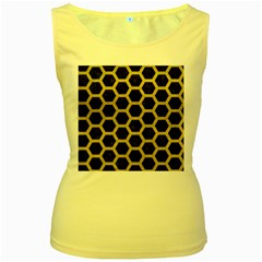 HEXAGON2 BLACK MARBLE & YELLOW LEATHER (R) Women s Yellow Tank Top