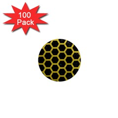 HEXAGON2 BLACK MARBLE & YELLOW LEATHER (R) 1  Mini Magnets (100 pack)