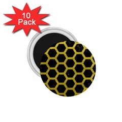 HEXAGON2 BLACK MARBLE & YELLOW LEATHER (R) 1.75  Magnets (10 pack)