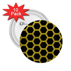 HEXAGON2 BLACK MARBLE & YELLOW LEATHER (R) 2.25  Buttons (10 pack)
