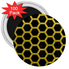 Hexagon2 Black Marble & Yellow Leather (r) 3  Magnets (100 Pack) by trendistuff