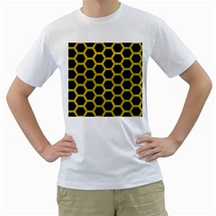 HEXAGON2 BLACK MARBLE & YELLOW LEATHER (R) Men s T-Shirt (White) (Two Sided)