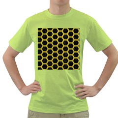HEXAGON2 BLACK MARBLE & YELLOW LEATHER (R) Green T-Shirt