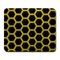 HEXAGON2 BLACK MARBLE & YELLOW LEATHER (R) Large Mousepads