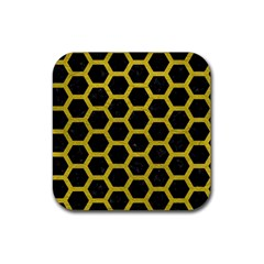 HEXAGON2 BLACK MARBLE & YELLOW LEATHER (R) Rubber Coaster (Square)