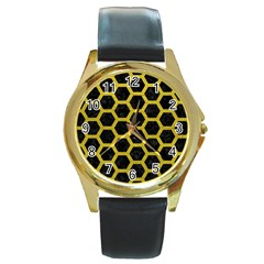 HEXAGON2 BLACK MARBLE & YELLOW LEATHER (R) Round Gold Metal Watch