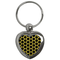 HEXAGON2 BLACK MARBLE & YELLOW LEATHER (R) Key Chains (Heart)