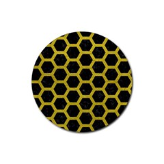 HEXAGON2 BLACK MARBLE & YELLOW LEATHER (R) Rubber Coaster (Round)
